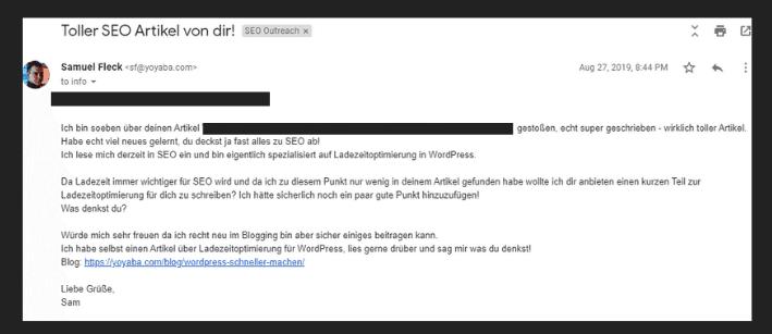 Backlinks aufbauen: Email Template 1