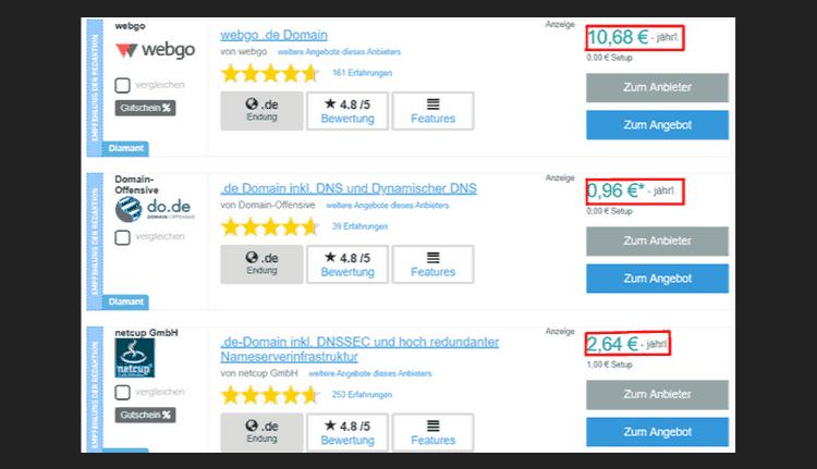 Domain Preis Vergleich screen