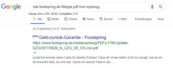 Foodspring Filetype