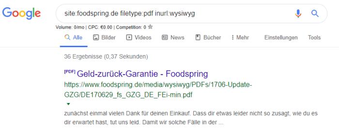 Foodspring Filetype