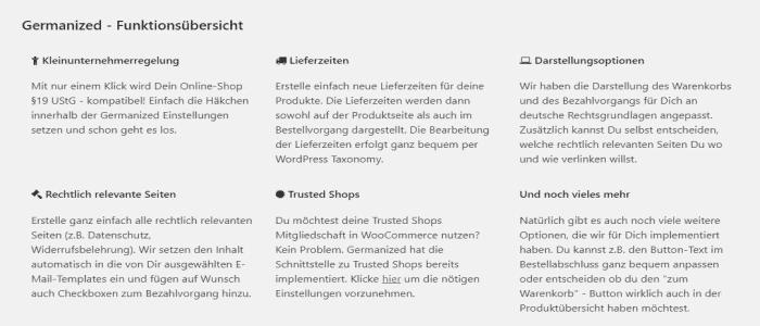 Funktionen von WooCommerce Germanized für einen WordPress Online Shop