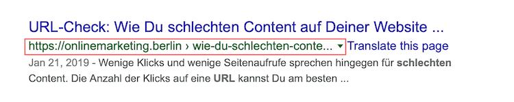 On-Page SEO URL