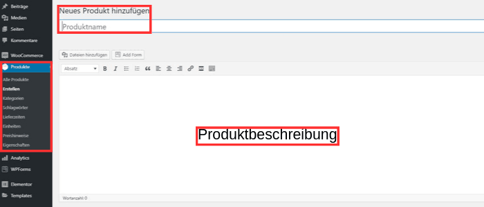 In einem Online Shop mit WordPress Produkte hinzufügen