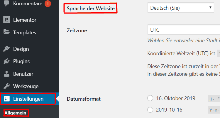 WP Sprache einstellen