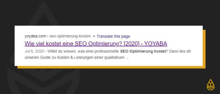Meta Beschreibung für SEO Optimierung Kosten