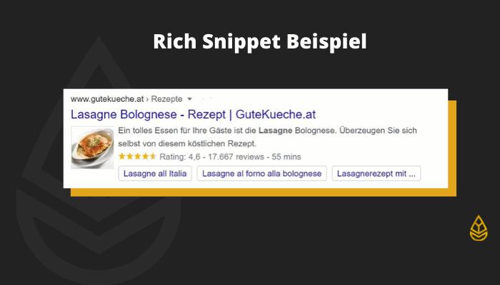 Rich Snippet Beispiel Lasagne